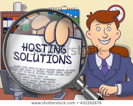 Hosting rozwiązania gryzmolić stylu papieru Zdjęcia stock © tashatuvango