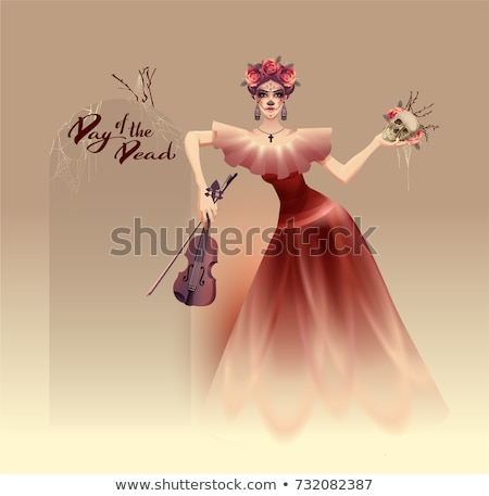 Young beautiful woman holding skull and violin. Mexican Holiday Dia de Muertos day of the dead Stock photo © orensila
