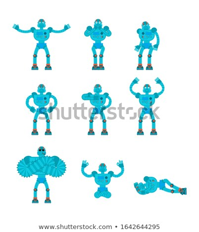 robot set poses and motion robotic man happy and yoga cyborg s stock photo © popaukropa