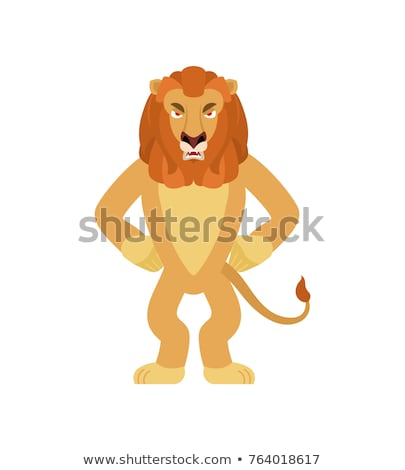 Lion angry. Wild animal evil emotions. Beast aggressive. Vector  Stock photo © popaukropa