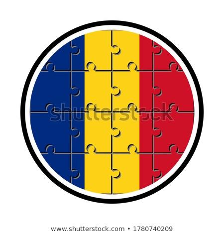 Roumanie brillant badge roumain pavillon signe Photo stock © magraphics