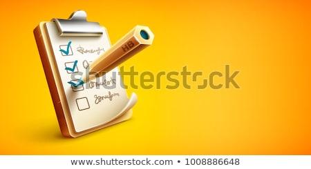 Foto stock: Lista · coisas · clipboard · lápis · papel · folha