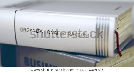 Stratégia könyv cím 3D gerincoszlop közelkép Stock fotó © tashatuvango