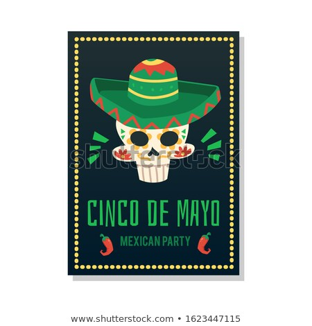 Cinco de Mayo card template with skull wearing hat Stock photo © bluering