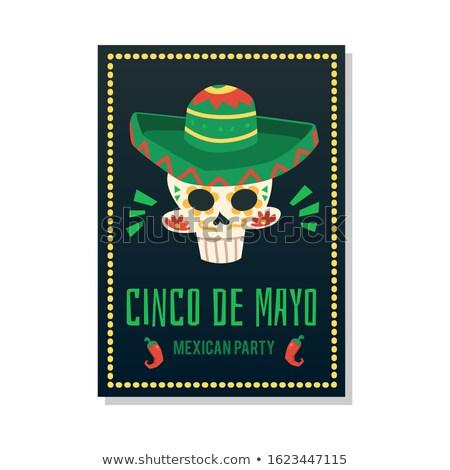 Mayonesa tarjeta plantilla cráneo sombrero Foto stock © bluering