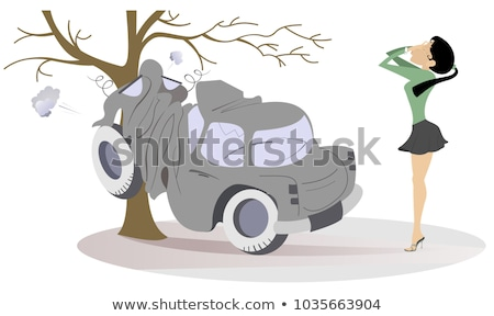 Young woman have got into a road accident illustration Stock photo © tiKkraf69