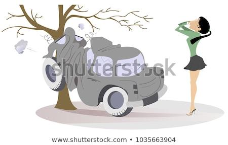 mulher · jovem · estrada · acidente · ilustração · frustração · choro - foto stock © tiKkraf69