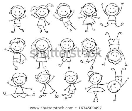 heureux · homme · silhouettes · sourire · fête · succès - photo stock © kup1984