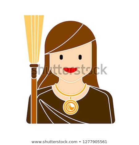 Witch face head Isolated. Halloween Vector illustration. Stock photo © popaukropa