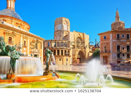 Valencia, the Turia fountain and cathedral Stock photo © LianeM