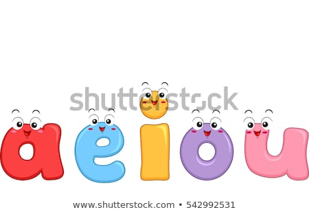 Vowel Letters Small Mascot Stock photo © lenm