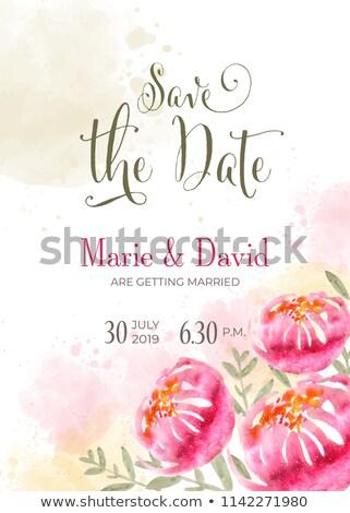 Belle invitation de mariage couleur pour aquarelle fleurs mettre date Photo stock © balasoiu