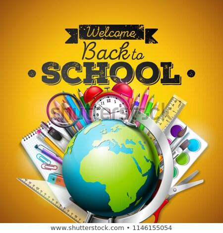 terug · naar · school · ontwerp · kleurrijk · potlood · gum · ander - stockfoto © articular