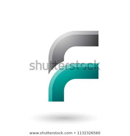 Black and Green Letter F with Round Corners Vector Illustration Stock photo © cidepix