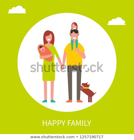 family portrait vector parents children happy poster advertising template isolated cartoon ill stock photo © pikepicture