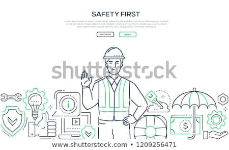 Biztonság első modern vonal terv stílus Stock fotó © Decorwithme