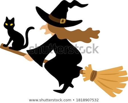 3eccf46e9 #9431352 Old witch with hat flying on a broom with a black cat isolated on  white background. Sketch for a pos by ...