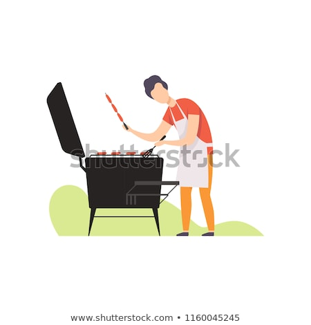 Man Grilling Sausages Barbecue Vector iIllustration Stock photo © robuart