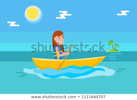 Kayaking Girl Sitting Boat and Holding Oar Vector Stock photo © robuart