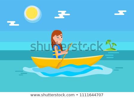 kajakken · meisje · vergadering · boot · zomer - stockfoto © robuart