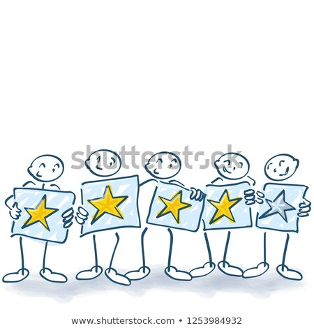 Stick figures with posters and four stars Stock photo © Ustofre9