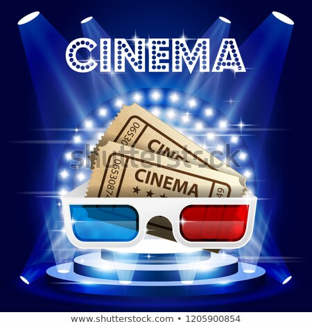 Cinema tickets and 3d glasses on stage in circle of lights - fil Stock photo © gomixer