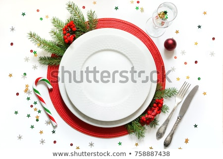 Karácsony asztal üres tányér ezüst étkészlet fenyőfa Stock fotó © karandaev