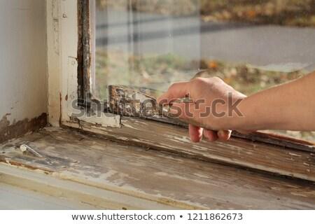 old oil window glazing putty removing stock photo © simazoran