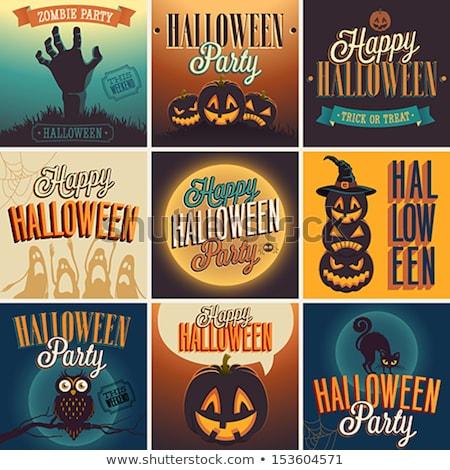 Feliz halloween ilustración tipografía luna vuelo Foto stock © articular