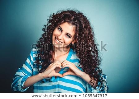 énigmatique jeunes brunette rouge court robe Photo stock © acidgrey