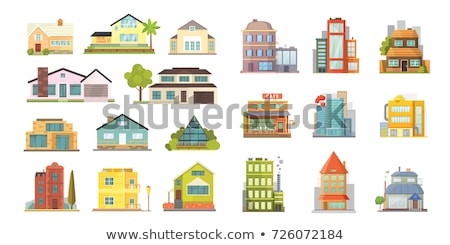 Сток-фото: Different Buildings Houses Residential Facade Set