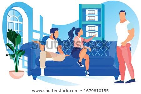 Alışveriş kanepe adam oturma tv teslim Stok fotoğraf © pikepicture