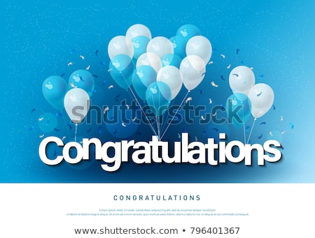Congratulations card template with colorful balloons Stock photo © colematt