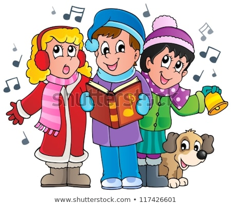 Children In Christmas Caps Singing Carol Vector. Illustration Stock photo © pikepicture