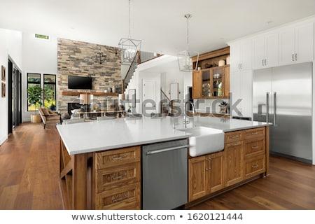 Licht ruim woonkamer steen haard mooie Stockfoto © iriana88w