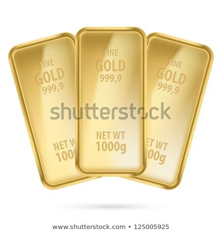 üç altın çubuklar ikon yalıtılmış beyaz Stok fotoğraf © MarySan