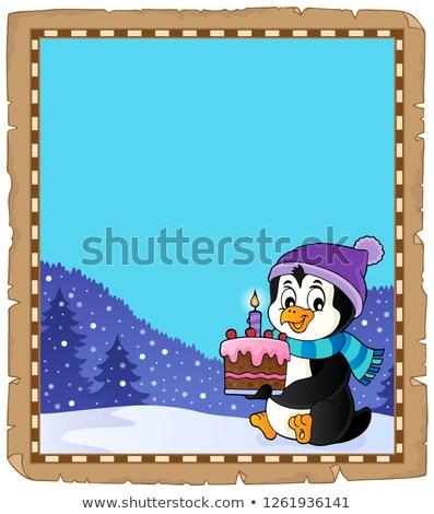 Pingvin tart torta pergamen papír művészet Stock fotó © clairev