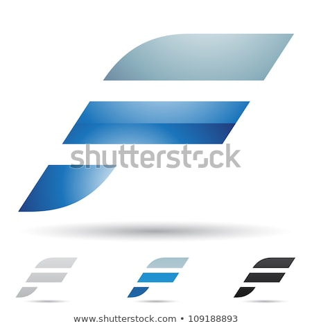 Blue and Black Geometrical Glossy Letter F Vector Illustration Stock photo © cidepix