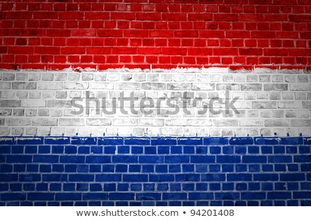 Flag of Netherland painted on brickwall Stock photo © colematt