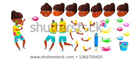 Indian Teen Girl Vector. Hindu. Asian. Teenager. Holi. Face Emotions, Various Gestures. Animation Cr Stock photo © pikepicture