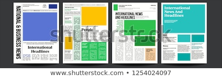Newspaper Cover Set Vector. Paper Tabloid Design. Daily Headline World Business Economy And Technolo Stock photo © pikepicture