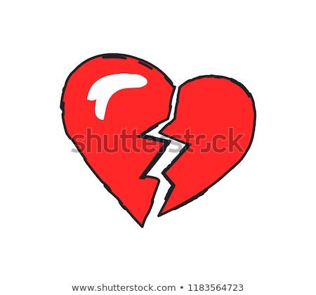 összetört szív logotípus közelkép piros ikon befejezés Stock fotó © robuart
