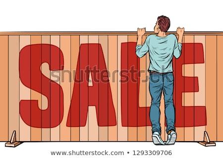 exkluzív · vásár · poszter · férfi · tart · tábla - stock fotó © studiostoks