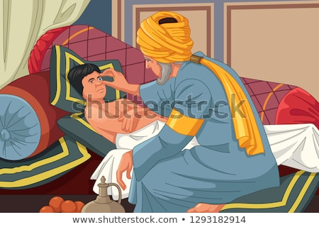 Ibn al-Haitam Arabian Optician Checking on Patient Stock photo © artisticco