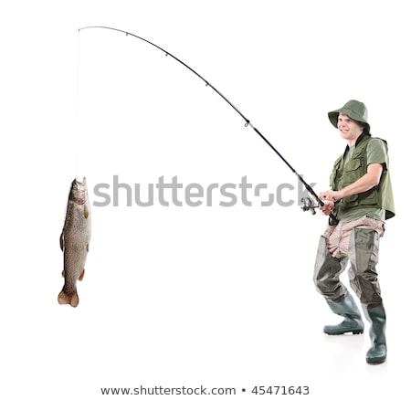 Adult Man with Catched Fish Isolated on White Stock photo © robuart