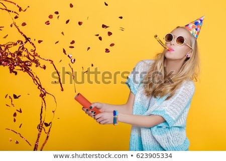 portrait of a funny blonde woman stock photo © deandrobot