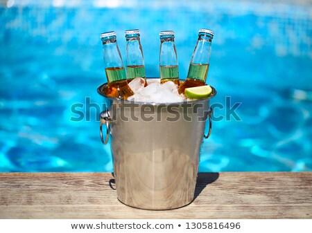 Közelkép kilátás vödör jégkockák sör üvegek Stock fotó © dashapetrenko