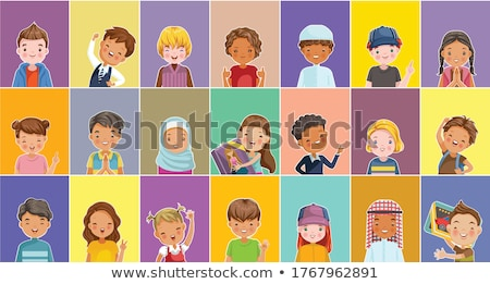 Arab, Muslim Girl Kindergarten Kid Poses Set Vector. Caucasian Child Expression. Activity. For Banne Stock photo © pikepicture