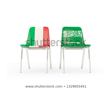 Two chairs with flags of Italy and saudi arabia Stock photo © MikhailMishchenko