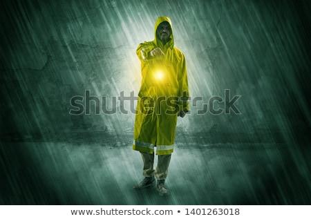 Lámpás fal csúnya kéz férfi építkezés Stock fotó © ra2studio